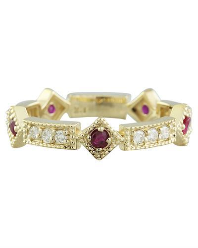0.43 Carat Ruby 14K Yellow Gold Diamond Ring