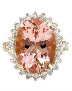 9.35 Carat Natural Morganite 14K Solid Yellow Gold Diamond Ring