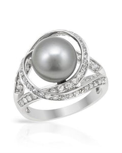 PEARL LUSTRE Brand New Ring with 1.3ctw of Precious Stones - pearl and topaz 925 Silver sterling silver