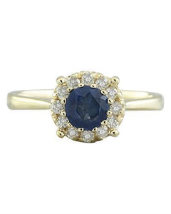 0.72 Carat Sapphire 14K Yellow Gold Diamond Ring