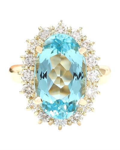 6.92 Carat Natural Aquamarine 14K Solid Yellow Gold Diamond Ring