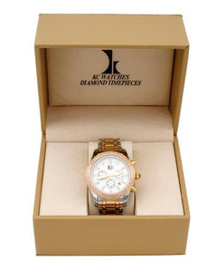 KC WA007509 Brand New Quartz date Watch with 1ctw of Precious Stones - crystal, diamond, and mother of pearl
