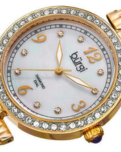 Load image into Gallery viewer, burgi BUR136YG Brand New Quartz date Watch with 0.04ctw of Precious Stones - crystal, diamond, and mother of pearl