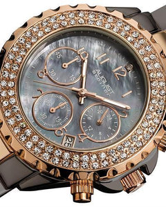 AUGUST Steiner AS8031TTR Brand New Quartz date Watch with 0ctw of Precious Stones - crystal and mother of pearl