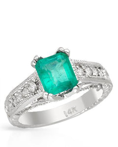 Brand New Ring with 3.28ctw of Precious Stones - diamond and emerald 14K White gold