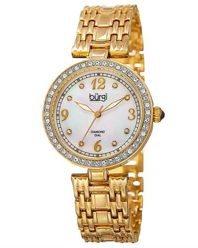 burgi BUR136YG Brand New Quartz date Watch with 0.04ctw of Precious Stones - crystal, diamond, and mother of pearl