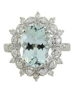 4.48 Carat Aquamarine 14K White Gold Diamond Ring