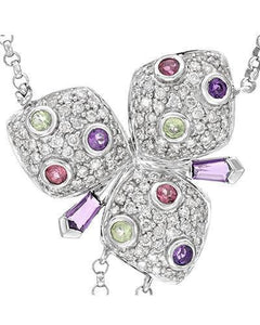 Whitehall Brand New Necklace with 2.78ctw of Precious Stones - amethyst, diamond, peridot, and tourmaline 14K White gold