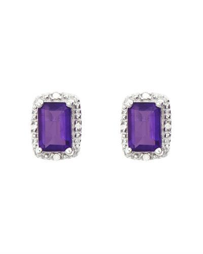 Brand New Earring with 1.12ctw of Precious Stones - amethyst and diamond 925 Silver sterling silver
