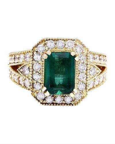 3.50 Carat Natural Emerald 14K Solid Yellow Gold Diamond Ring