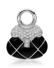 Load image into Gallery viewer, Brand New Pendant with 0.43ctw of Precious Stones - diamond and onyx 14K White gold