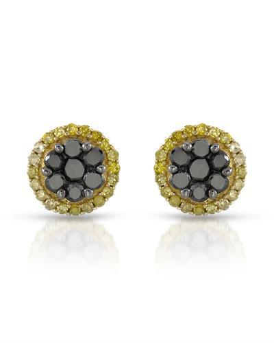 Brand New Earring with 0.45ctw of Precious Stones - diamond and diamond 10K Yellow gold