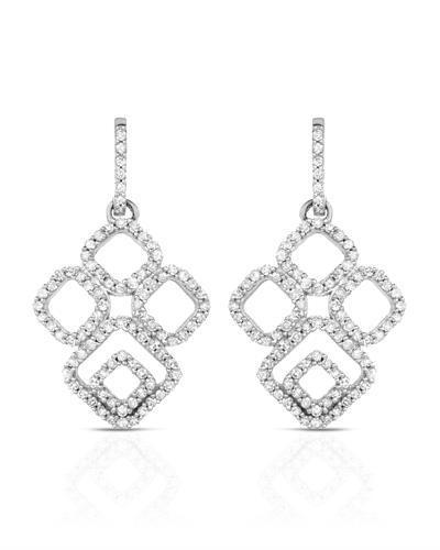 Lundstrom Brand New Earring with 0.7ctw diamond 10K White gold