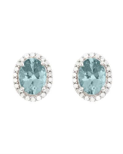Brand New Earring with 2.42ctw of Precious Stones - aquamarine and diamond 925 Silver sterling silver