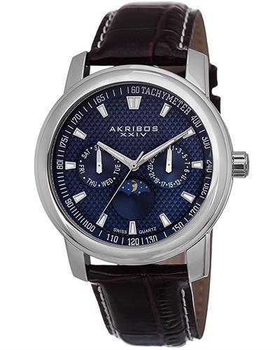 Akribos XXIV AK573BU Brand New Swiss Quartz day date Watch