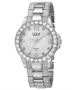 burgi BUR137 Brand New Quartz date Watch with 0.04ctw of Precious Stones - crystal and diamond