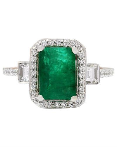 3.58 Carat Natural Emerald 14K Solid White Gold Diamond Ring