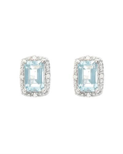 Brand New Earring with 1.02ctw of Precious Stones - aquamarine and diamond 925 Silver sterling silver