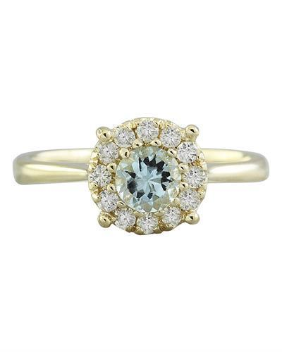 0.72 Carat Aquamarine 14K Yellow Gold Diamond Ring