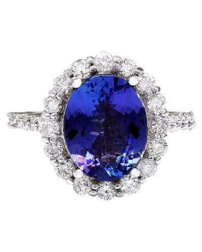 4.46 Carat Natural Tanzanite 14K Solid White Gold Diamond Ring