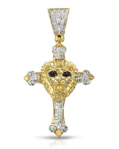 Brand New Pendant with 0.26ctw of Precious Stones - diamond and ruby 14K/925 Yellow Gold plated Silver