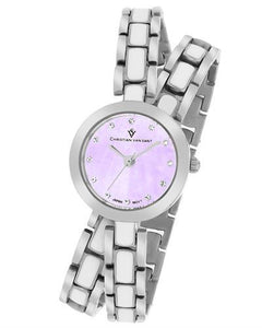 Christian Van Sant CV5611 Spiral Brand New Quartz Watch with 0ctw of Precious Stones - crystal and mother of pearl