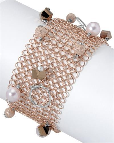 Millana Brand New Bracelet with 0ctw of Precious Stones - crystal and faux pearl 925 Two tone sterling silver