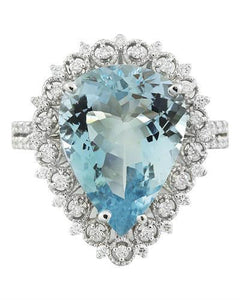 7.80 Carat Aquamarine 14K White Gold Diamond Ring