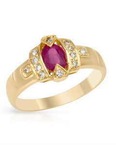 Brand New Ring with 0.7ctw of Precious Stones - diamond and ruby 14K Yellow gold