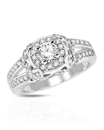 Brand New Ring with 1ctw of Precious Stones - diamond and diamond 14K White gold