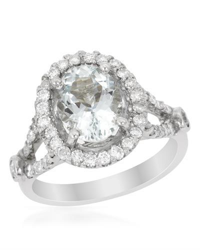 Brand New Ring with 2.45ctw of Precious Stones - aquamarine and diamond 14K White gold