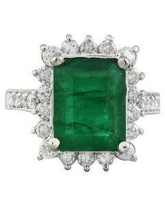 5.03 Carat Emerald 14K White Gold Diamond Ring