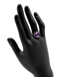 Brand New Ring with 5.78ctw of Precious Stones - amethyst, diamond, and sapphire 14K White gold
