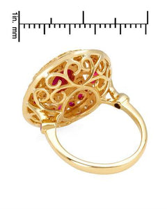 Brand New Ring with 2.3ctw of Precious Stones - diamond, ruby, and ruby 14K Yellow gold