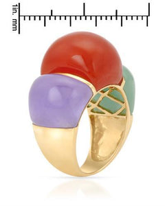 Brand New Ring with 0ctw of Precious Stones - jade and jade 14K Yellow gold