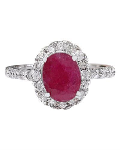 2.83 Carat Natural Ruby 14K Solid White Gold Diamond Ring