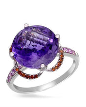 Load image into Gallery viewer, Brand New Ring with 5.78ctw of Precious Stones - amethyst, diamond, and sapphire 14K White gold