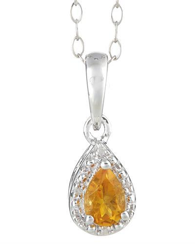 Brand New Necklace with 0.36ctw of Precious Stones - citrine and diamond 925 Silver sterling silver