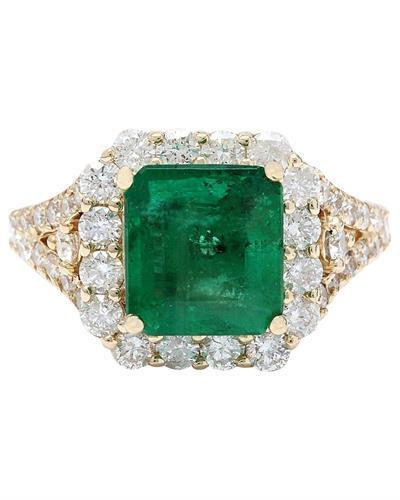 4.39 Carat Natural Emerald 14K Solid Yellow Gold Diamond Ring
