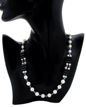 Load image into Gallery viewer, PEARL LUSTRE Brand New Necklace with 0ctw of Precious Stones - obsidian and pearl 925 Silver sterling silver