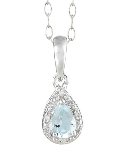 Brand New Necklace with 0.36ctw of Precious Stones - aquamarine and diamond 925 Silver sterling silver