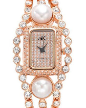Load image into Gallery viewer, Adee Kaye ak9-70LRG/CR Brand New Quartz Watch with 0ctw of Precious Stones - crystal and pearl