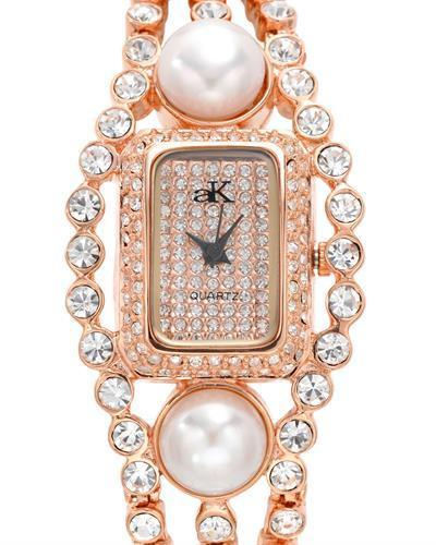 Adee Kaye ak9-70LRG/CR Brand New Quartz Watch with 0ctw of Precious Stones - crystal and pearl