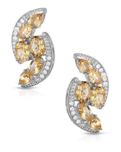 Brand New Earring with 6.72ctw of Precious Stones - citrine and topaz 925 Silver sterling silver