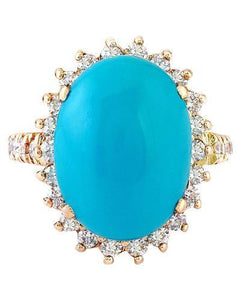 8.54 Carat Natural Turquoise 14K Solid Rose Gold Diamond Ring