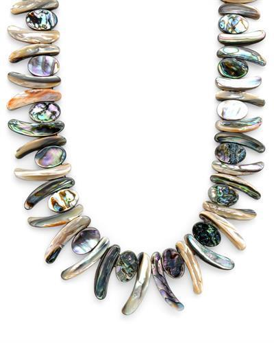 Brand New Necklace with 0ctw Abalone Shell  Green Fabric