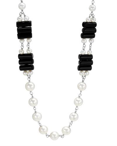 PEARL LUSTRE Brand New Necklace with 0ctw of Precious Stones - obsidian and pearl 925 Silver sterling silver