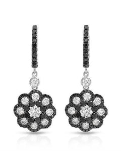 Brand New Earring with 2.21ctw of Precious Stones - diamond and diamond 14K White gold