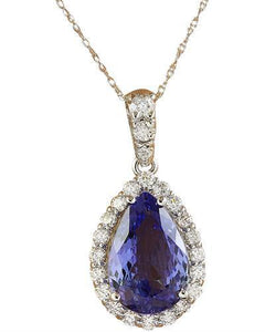5.10 Carat Tanzanite 14k White Gold Diamond Necklace