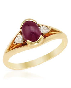Brand New Ring with 1.22ctw of Precious Stones - diamond and ruby 14K Yellow gold